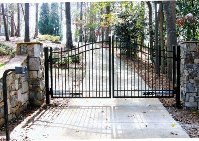 Stone Column Wall Driveway Automatic Gate (1)