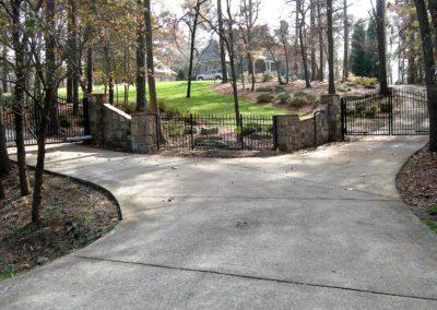 Stone Column Wall Driveway Automatic Gate (2)