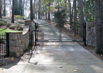 Stone Column Wall Driveway Automatic Gate (3)
