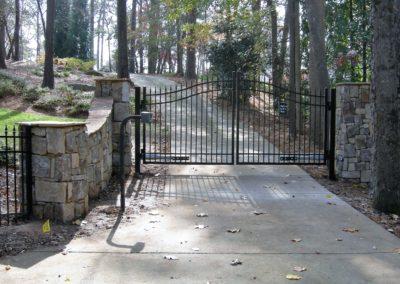 Stone Column Wall Driveway Automatic Gate (4)