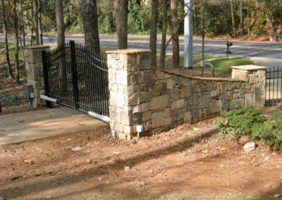 Stone Column Wall Driveway Automatic Gate (8)