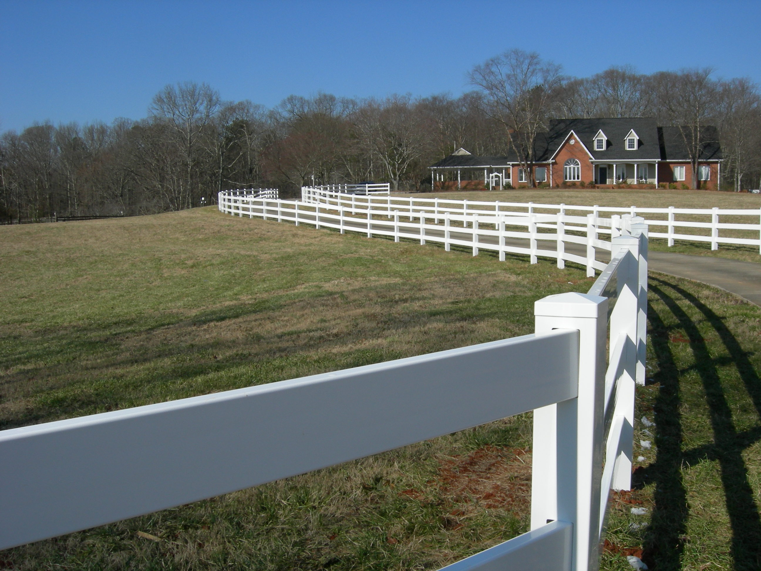 White Vinyl Ranch Rail Fencing Cobb County Apex Fence