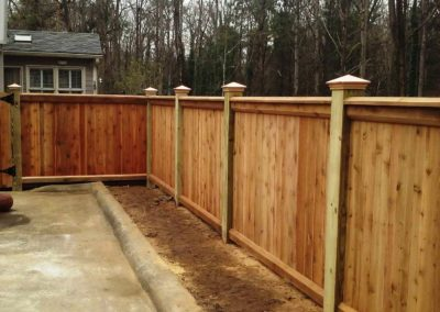 capped wooden fence