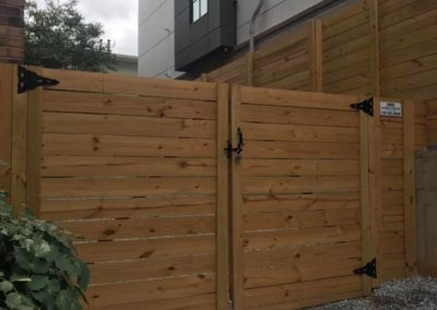 custom horizontal slat fence gate